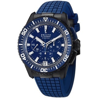 Zenith Men's 'El Primero Stratos Flyback' Blue Rubber Strap Watch