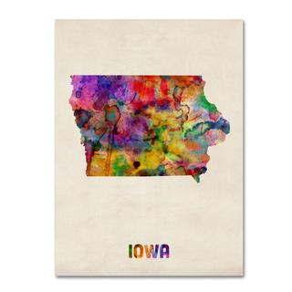 Michael Tompsett 'Iowa Map' Canvas Art