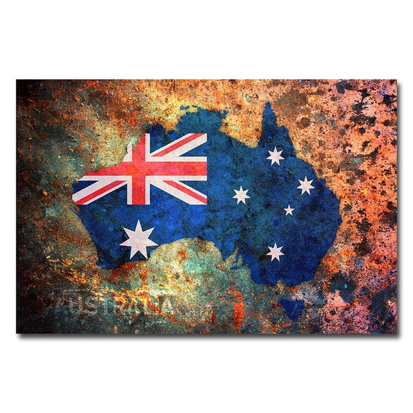 Michael Tompsett 'Australia Flag Map' Canvas Art