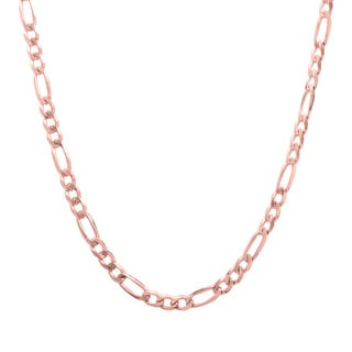 Sterling Essentials 14k Rose Gold over Silver Figaro Chain