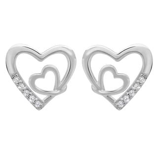 Sterling Essentials Silver Cubic Zirconia Mini Heart Stud Earrings