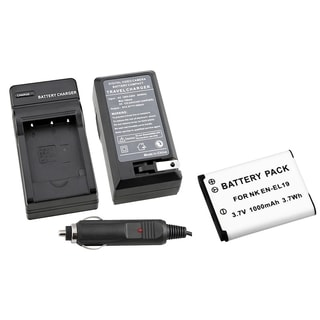 BasAcc Replacement Battery/ Charger Set for Nikon CoolPix S3100 Camera