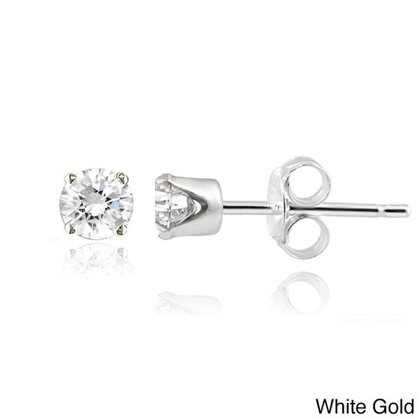 14k Gold Diamond 1/4ct TDW Round Stud Earrings (G-H I2-I3)