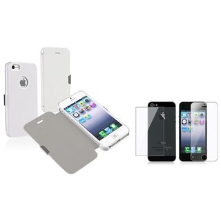 BasAcc Leather Case/ Screen Protector Set for Apple iPhone 5/ 5S