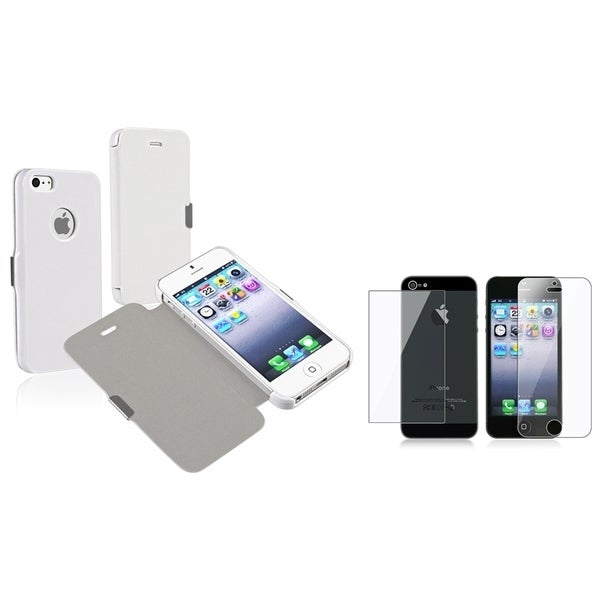 INSTEN Leather Phone Case Cover/ Screen Protector Set for Apple iPhone 5/ 5S