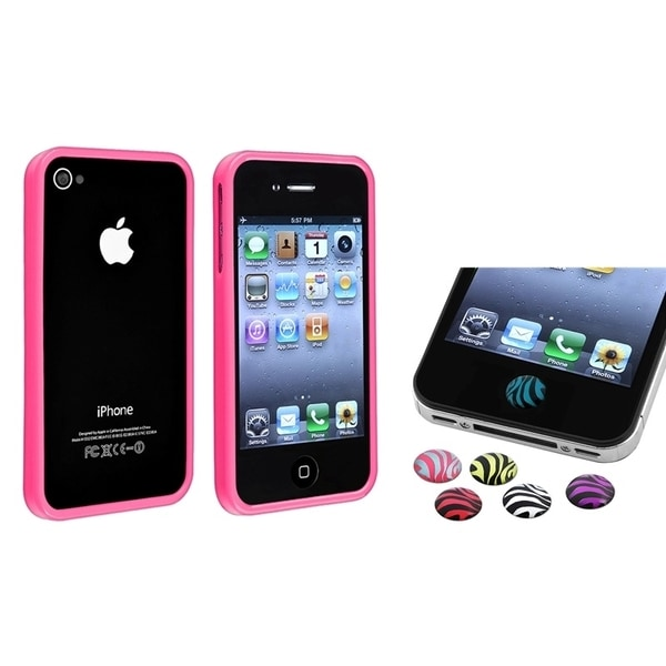 INSTEN Pink Phone Case Cover/ Home Button Sticker for Apple iPhone 4/ 4S
