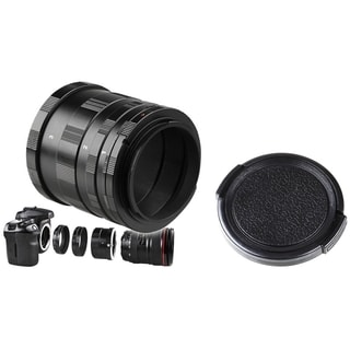 BasAcc Macro Extension Tube Set/ 46mm Black Camera Lens Cap for Canon