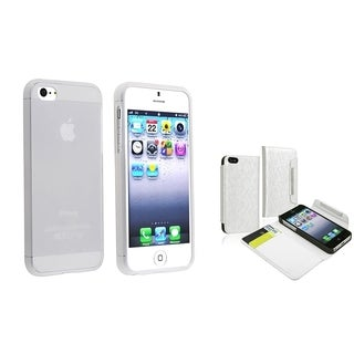 BasAcc Leather Wallet/ TPU Case Set for Apple iPhone 5