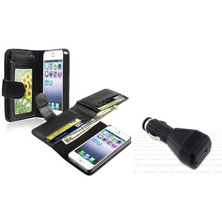 INSTEN Leather Wallet/ Universal USB Car Charger for Apple iPhone 5/ 5S