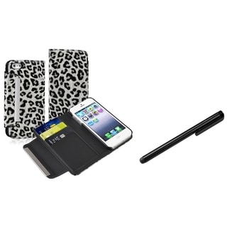 INSTEN Leather Wallet Phone Case Cover/ Universal Stylus for Apple iPhone 5/ 5S