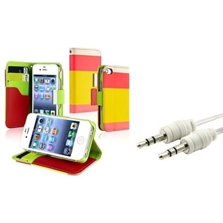 INSTEN Leather Wallet Phone Case Cover/ Audio Cable for Apple iPhone 4/ 4S