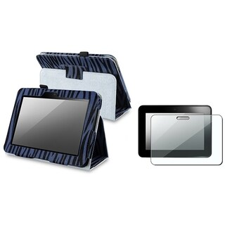 BasAcc Blue Zebra Case/ LCD Protector for Amazon Kindle Fire HD 7-inch