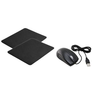 INSTEN Black Mouse/ Black Mouse Pad