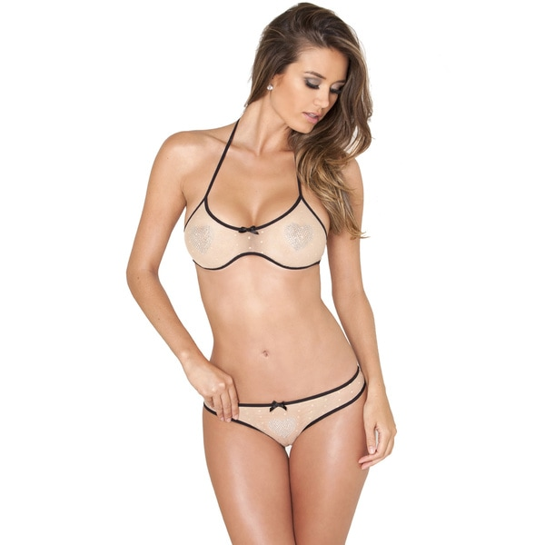 Rene Rofe Nude Shiny Hearts Bra and Panty Lingerie Set 11613416