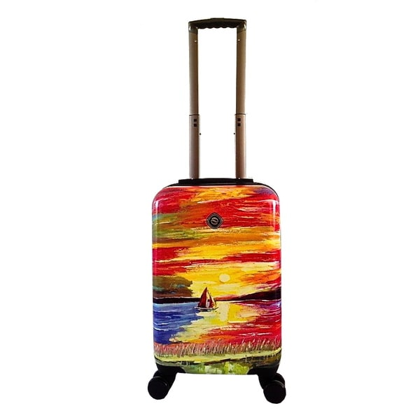 Neocover Sailing Through Sunsets 20-inch Carry-on Hardside Spinner Upright Suitcase