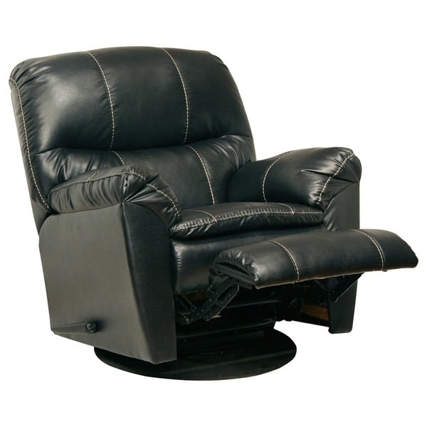 Catnapper cosmo black bonded leather swivel glider for Addin chaise recliner