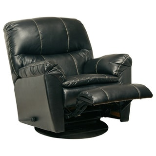 Catnapper Cosmo Black Bonded Leather Swivel Glider Recliner