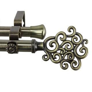Cloud Antique Brass Adjustable Double Curtain Rod Set