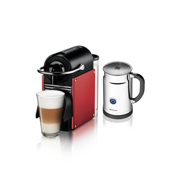 Nespresso A+D60 Red Pixie Espresso Maker and Aeroccino Plus Milk Frother