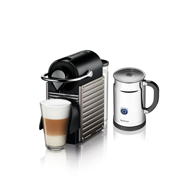 Nespresso A+C60 Titanium Pixie Espresso Maker with Aeroccino Plus Milk Frother