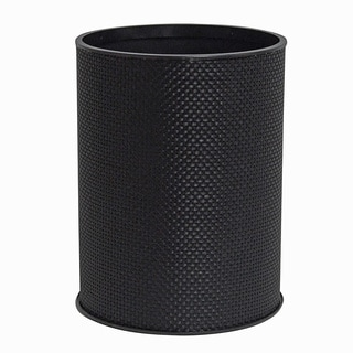Black Basketweave Bath Wastebasket