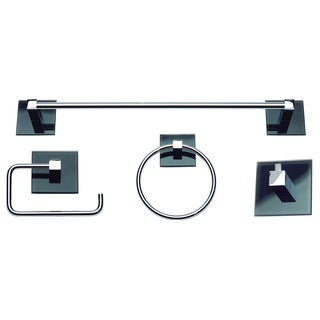 Spa Chrome/ Black Glass 4-piece Bathroom Accessory Set