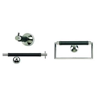 Zanzibar Chrome/ Black Leather 3-piece Bathroom Accessory Set