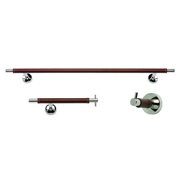 Zanzibar Chrome/ Brown Leather 3-piece Bathroom Accessory Set
