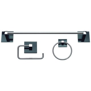 Eucalyptus Polished Chrome/ Black Glass 3-piece Bathroom Accessory Set