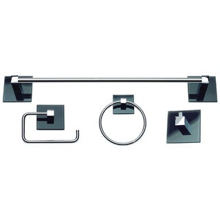 Polished chrome bathroom hardware overstock shopping for Black glass bathroom accessories