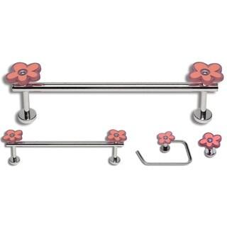 Daisy Polished Chrome 4-piece Bathroom Accessory Set