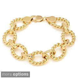 Sterling Essentials Gold over Bronze 7.5-inch Cable Oval Link Bracelet