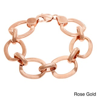 Sterling Essentials Gold over Bronze 7.5-inch O-link Bracelet