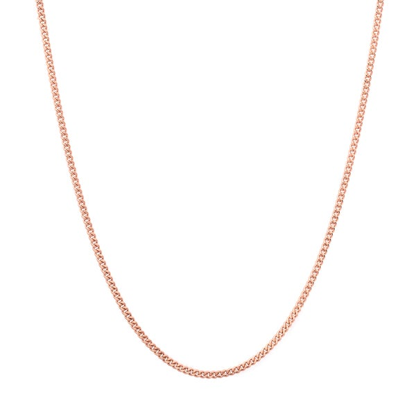 Sterling Essentials 14k Rose Gold over Silver Curb Chain (1.25mm)