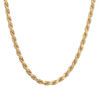 Sterling Essentials 14k Gold over Silver Diamond-cut Rope Chain (3mm)
