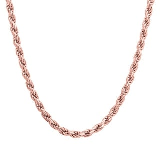 Sterling Essentials 14k Rose Gold over Silver Diamond-cut Rope Chain (3mm)