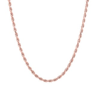 Sterling Essentials 14k Rose Gold over Silver Diamond-cut Rope Chain (1.8mm)