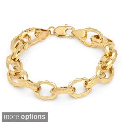 Sterling Essentials Gold over Bronze 7.5-inch Hammered Oval Link Bracelet