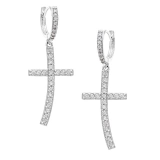 Sterling Essentials Silver Cubic Zirconia Cross Earrings