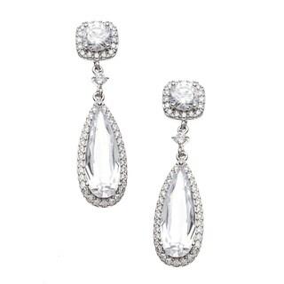 Sterling Essentials Silver Pear Cubic Zirconia Drop Earrings