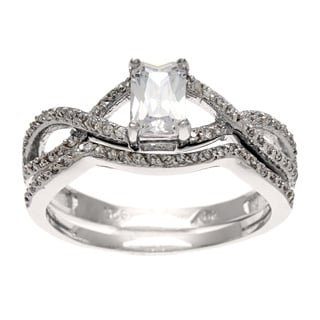 Sterling Essentials Silver CZ Neo-vintage Bridal-style Ring Set