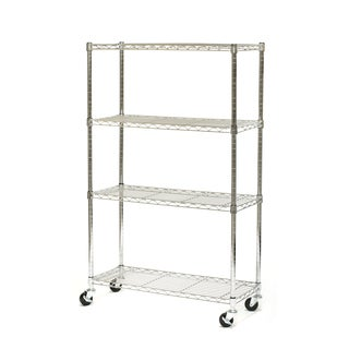 Seville Classics 4-Shelf UltraZinc Steel Wire Shelving System on Wheels
