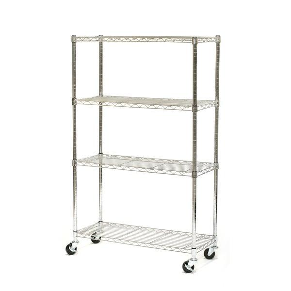 Seville Classics 4-Shelf UltraZinc Steel Wire Shelving System on Wheels