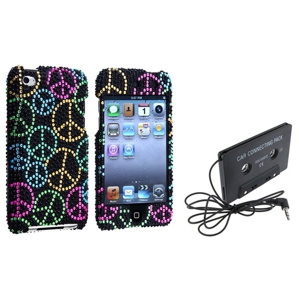 INSTEN Rainbow Peace Diamante iPod Case Cover/ Cassette Adapter for iPod Touch 4
