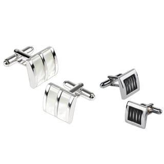 Zodaca Silver White Jade/ Black Silver Square Cufflink Set (Pack of 2)