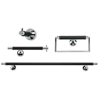 Amazing Chrome u Leather piece Bathroom Accessory Set
