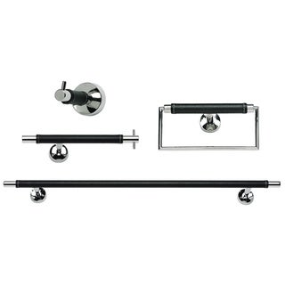 Chrome & Leather 4-piece Bathroom Accessory Set