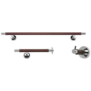 Chrome and Leather 3-piece Bathroom Accessory Set