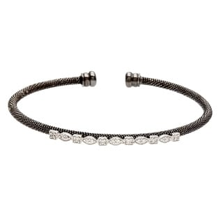 Sterling Essentials Two-tone Silver CZ Mesh Stackable Cuff Bracelet
