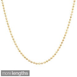 Sterling Essentials 14k Gold over Silver Diamond-cut Ball Chain (1.25mm)